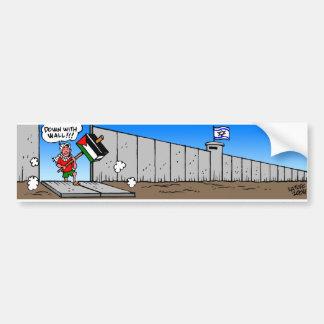 Abajo con la pared etiqueta de parachoque