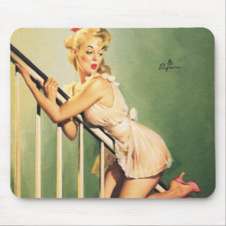 Abajo de las escaleras - chica retro Pin-para arri Mouse Pads