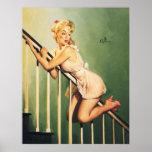 Abajo de las escaleras - chica retro Pin-para arri Impresiones