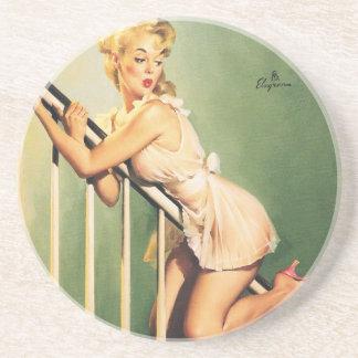 Abajo de las escaleras - chica retro Pin-para arri Posavasos Manualidades