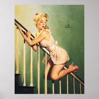 Abajo de las escaleras - chica retro Pin-para arri Póster