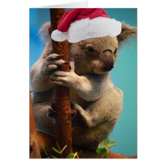 Abajo debajo de koala del navidad tarjeta de felicitación