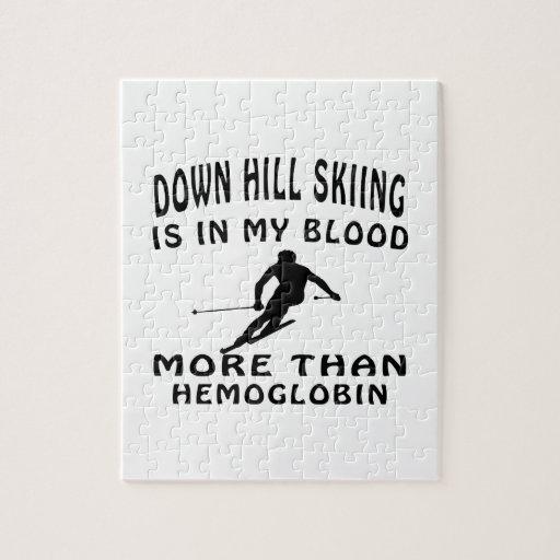Abajo diseños del esquí de la colina rompecabezas