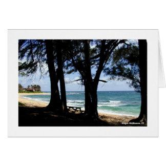 Abajo en la playa tarjeta de felicitación