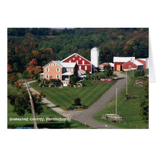 Abajo en la tarjeta de nota de la granja