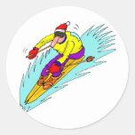 abajo esquí de la colina etiquetas