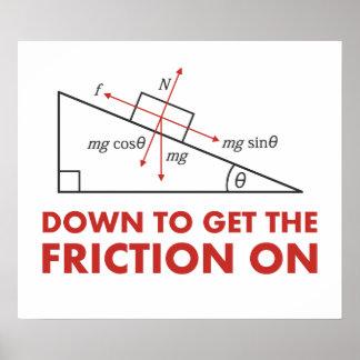 Abajo para conseguir la fricción en diagrama de la póster