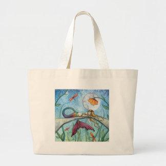 Abajo por el arte de la sirena de la charca bolsa tela grande