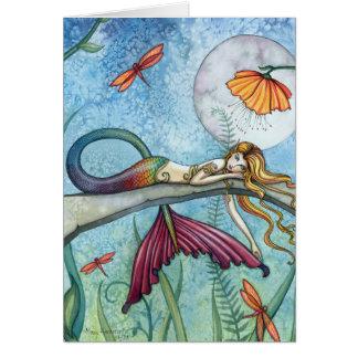 Abajo por el arte de la sirena de la charca tarjetón