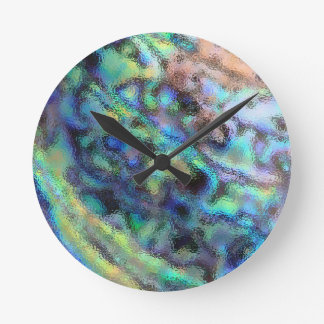 Abalone paua shell glass texture round clock