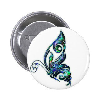 Abalone Shell Art Deco Butterfly Pinback Buttons