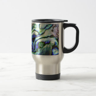 Abalone shell green blue paua travel mug