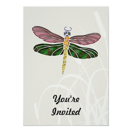 Abalone Shell & Stained Glass Dragonfly Card