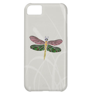 Abalone Shell & Stained Glass Dragonfly Cover For iPhone 5C