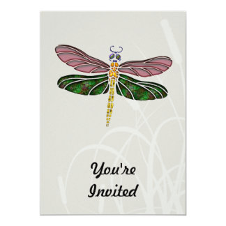 Abalone Shell & Stained Glass Dragonfly Custom Invitations