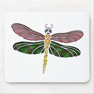 Abalone Shell & Stained Glass Dragonfly Mouse Pad