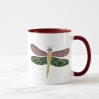 Abalone Shell & Stained Glass Dragonfly Mug