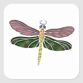 Abalone Shell & Stained Glass Dragonfly Square Sticker