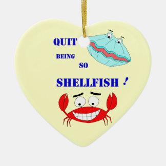 ¡Abandonado el ser tan crustáceos! Adorno Navideño De Cerámica En Forma De Corazón