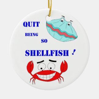 ¡Abandonado el ser tan crustáceos! Adorno Navideño Redondo De Cerámica