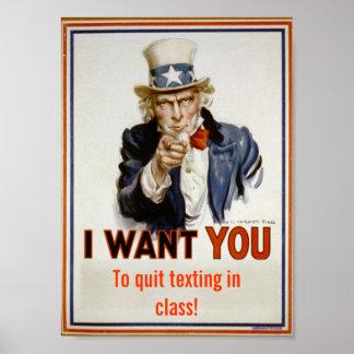 """""""Abandone el texting en poster de la sala de clase Póster"""