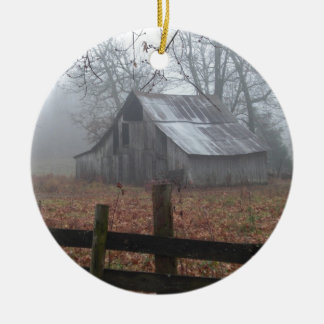 Abandoned Barn in the Foggy Morning Ceramic Ornament