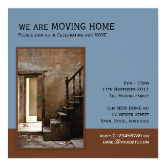 Abandoned blue Moving Home Card