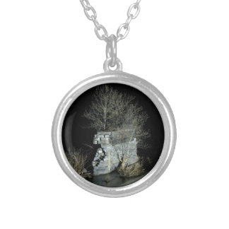 Abandoned bridge pier at Harpers Ferry Round Pendant Necklace