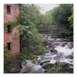 Abandoned Building, Bridge and Stream Poster