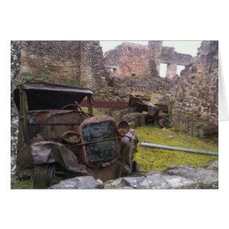 Abandoned car at Oradour Sur Glane Card