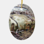 Abandoned Car Double-Sided Oval Ceramic Christmas Ornament