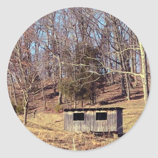 Abandoned Chicken Coop On The Mountain Round Stickers