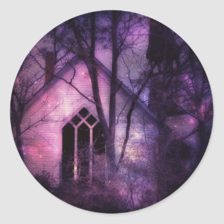 Abandoned Church Purple Night Sky Digital Art Classic Round Sticker