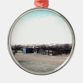 Abandoned Corral Metal Ornament