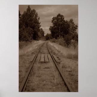 Abandoned Empty Railroad Train Tracks Sepia Photo Poster