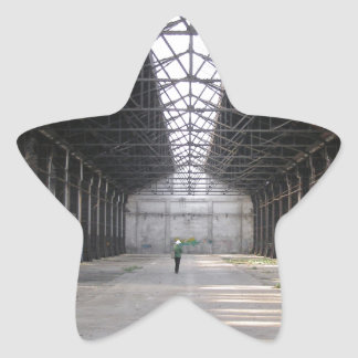Abandoned factory ruins industrial archeology star sticker