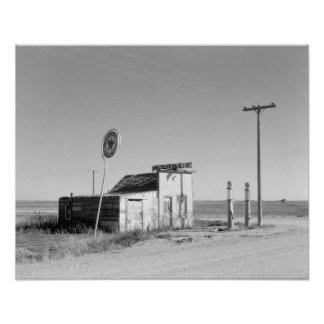 Abandoned Gas Station, 1937. Vintage Photo Poster