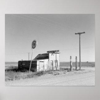 Abandoned Gas Station, 1937. Vintage Photo Poster