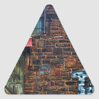 Abandoned Graffiti Brick Building Barred Windows Triangle Sticker