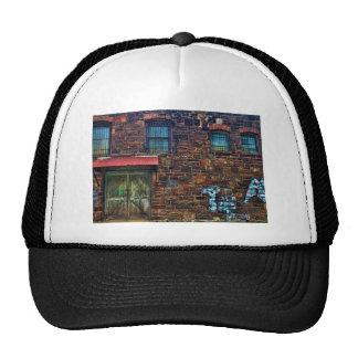 Abandoned Graffiti Brick Building Barred Windows Trucker Hat