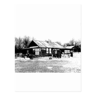 Abandoned Homestead in Black and White Post Card