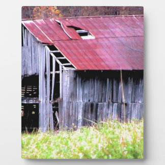 ABANDONED HORSE BARN IN AUTUMN FALL PLAQUE