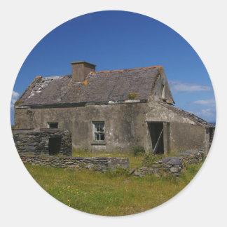 Abandoned Irish Cottage Classic Round Sticker