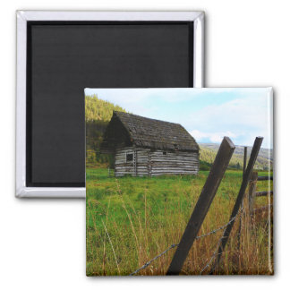 Abandoned Old Barn in Rural Field with Fence Fridge Magnet