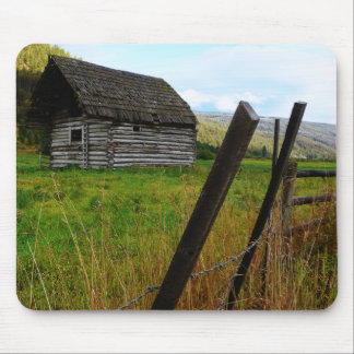 Abandoned Old Barn in Rural Field with Fence Mouse Pad