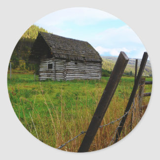 Abandoned Old Barn in Rural Field with Fence Round Stickers