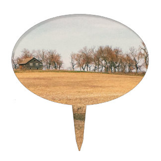 Abandoned Prairie Homestead In North Dakota #3B Cake Topper