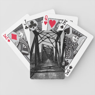 Abandoned RR Bridge b/w Playing Cards