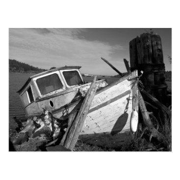 northwestphotos Abandoned Shipwreck Black and White Photo Postcard