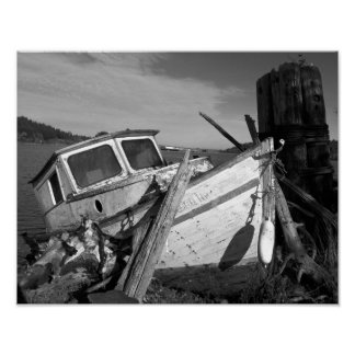 Abandoned Shipwreck Black and White Poster